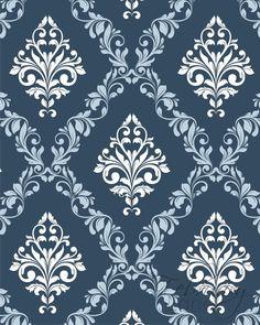 Damask Pattern Printable Wall Art Navy Blue Set of 2 Vintage Geometric In. Pretty Phone Wallpaper, Damask Wallpaper, Pattern Wallpaper, Stencil Patterns, Pattern Art, Damask Patterns, Batik Pattern, 3d Max, Surface Pattern Design