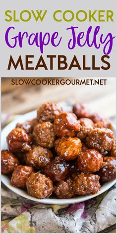 Slow Cooker Grape Jelly Meatballs are a classic holiday treat! Easy to make and perfect for family gatherings, entertaining friends and potlucks!
