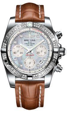 Breitling Chronomat 41 Steel Diamond Bezel Croco Strap Deployant AB0140AA/G712