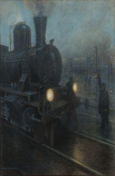 "Hans Baluschek (1870-1935 German) :: Titled: No. 6, !Halt.!, Berlin train - gouache and pastel, 37"" x 25"" - est: $20,000/30,000"