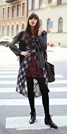Plaid and Black Leather | Via natalieoffduty.com