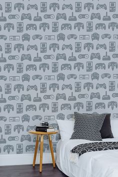 Capturing the iconic control pads that revolutionised the way we game, our Light Grey Retro Game Wallpaper Mural is a fabulous retro feature wall idea! Gamer Bedroom, Kids Bedroom, Bedroom Decor, Boy Bedrooms, Wall Decor, Boys Bedroom Wallpaper, Bedroom Feature Wallpaper, Grey Wallpaper, Boys Game Room