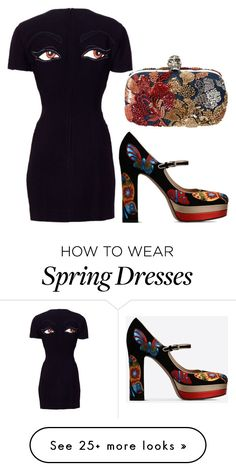 """""""black"""" by yuliabdrd on Polyvore featuring Moschino, Valentino and Alexander McQueen"""