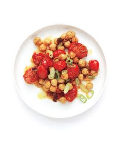 Curried Tomatoes and Chickpeas  Want to turn this protein-rich salad into a delicious dinner? Serve with basmati rice, a dollop of yogurt, and warm naan or pita bread.