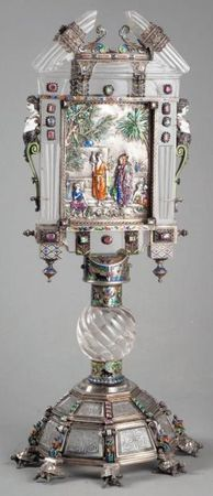 "Fine quality crystal, enamel and silver ""monstrance"" by Hermann Bohm, last quarter 19th century. Lovely."