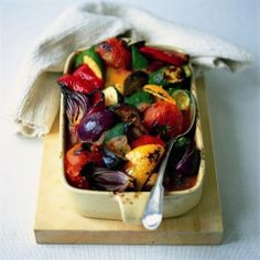 Chunky Oven-Baked Ratatouille by Rose Elliot - For the Americans, a courgette is a zucchini and an aubergine is an eggplant. :o)