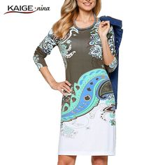 New Fashion Hot Sale Women Flower Natural Simple Printing Cloth O-Neck Mid-Calf Chiffon Dress