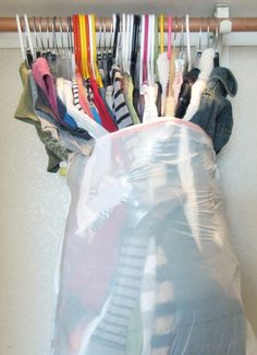 Moving tip...put a large trashbag around the bottom of the clothes and they stay together and you just hang them in your new closet