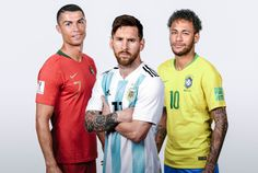 In this composite image,Lionel Messi of Argentina,Cristiano Ronaldo of Portugal,Neymar of Brazil pose for a portrait during the official FIFA World Cup 2018 portrait session during June 2018 in Russia. Cristiano Messi, Lionel Messi, Messi Y Neymar, Messi And Ronaldo, Neymar Jr Wallpapers, Cristiano Ronaldo Wallpapers, Robert Lewandowski, Paul Pogba, Antoine Griezmann