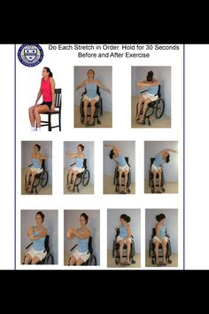 Wheelchair exercises and ROM (Mobility Exercises Physical Therapy) Stretching Exercises For Seniors, Chair Exercises, Stretches, Senior Fitness, Fitness Tips, Senior Activities, Physical Activities, Chair Yoga, Desk Chair