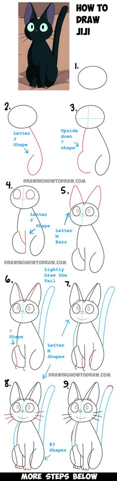 Learn How to Draw Jiji from Kiki's Delivery Service - Simple Steps Drawing…