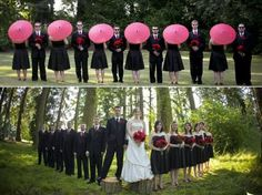 - hot-pink-black-red-outdoor-wedding-young-fun-vibe-pink-parasols-white ...