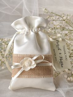 Add your favorite goodies for an instant favor to offer your guests.    Natural Rustic satin Wedding Favor Bag with Burlap    ~~~~~~~~~~~~~