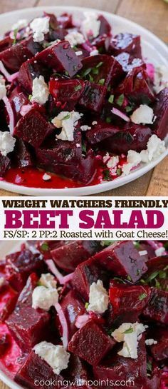 Roasted Beet Salad with Goat Cheese and a delicious yet easy lemon vinaigrette with sliced red onions and salty feta cheese is Weight Watchers friendly with just 2 smart points per serving. #recipe #weightwatchers #freestyle #smartpoints #pointsplus #salad #beets #goatcheese