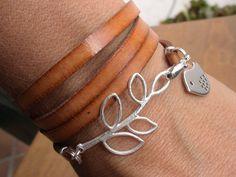 bird bracelet leaf bracelet wrap bracelet nature inspired