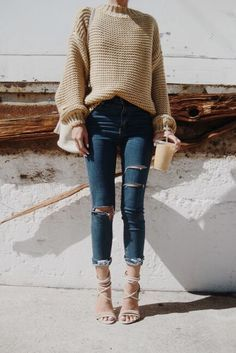 chunky sweater, ripped jeans and high heel sandals