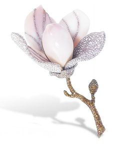 A RARE CONCH PEARL, COLOURED DIAMOND AND DIAMOND BROOCH, BY ETCETERA   Designed as a blossoming flower centering upon a conch pearl pistil, within a conch pearl shell surround accented by vari-cut pink and colourless diamonds and a petal pavé-set with similarly-cut and coloured diamonds, joined to the brilliant-cut colourless, yellow and brown diamond sepal extending to the stem, mounted in 18k white gold, 10.9 cm long