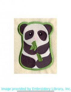 Stickmotiv Stickbild Aufnäher Stickerei Emblem Asien Panda Panda / Stickerei Panda and Bamboo (C5714)