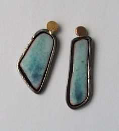 Enamelled silver studs by Fiona Cameron