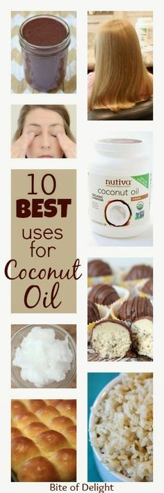10 Awesome Uses for Coconut Oil! Removes makeup, replaces lotion, amazing hair mask, plus it's a superfood?! What doesn't it do? Bite of Delight