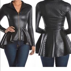 Gorgeous peplum jacket NWOT Great Christmas gift or gift to self purchased  from a local boutique ended up getting one similar as gift didn't need both my lose ur gain Jackets & Coats