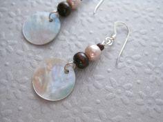 Earrings, Long, Dangling, Sterling Silver, Brown, Shell, Jewelry by Informalelegance on Etsy, E 101