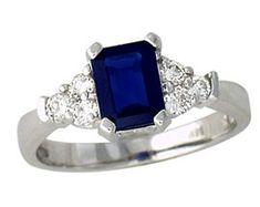 ApplesofGold.com - Sapphire and 0.30 Carat Diamond Ring - 14K White Gold