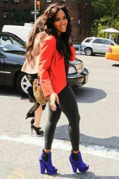 Angela Simmons - head to toe fab color block Angela Simmons, Diva Fashion, Look Fashion, Fashion Hair, Street Chic, Street Style, Style And Grace, My Style, Curvy Petite Fashion