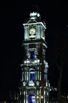 The Dolmabahçe Palace clock tower, Istanbul.  Photo by engin erol.