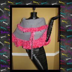 Pink & Gray UpCycled Ultra Fringe Infinity Cape by iLoveThelmaLu, $55.00