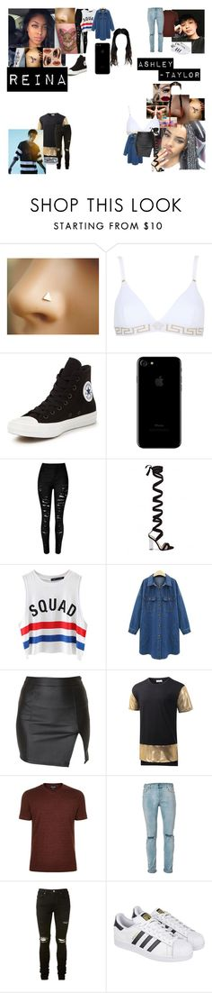 """""""No One But You"""" by teylorann on Polyvore featuring Versace, Make, Urban Decay, Converse, Chicnova Fashion, Alice In The Eve, Giorgio Armani, Topman, AMIRI and adidas"""