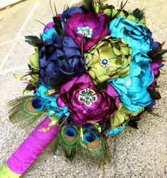 Handmade Beautiful Peacock Fabric Flower Wedding Bouquet - Brooch Bouquet…