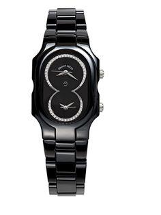 Women's Diamond & Black Ceramic Watch by Philip Stein at Gilt