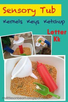 My Little Sonbeam: January Week 1: Alphabet {Letter Kk} - letter k worksheet, song, activity, craft, and sensory tub. Fine motor and gross motor.  {Homeschool preschool learning activities for ages 2 3 4}