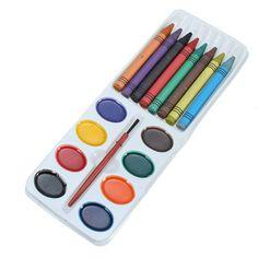 16 Colors Children Crayons Brush Watercolor Paint Set School Student Supplies