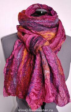 """нуно-войлочный шарф """"Пурпур"""" - шарф,шарфик,валяный шарфик,нуно-войлочный шарф"""