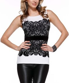 White & Black Lace Tank
