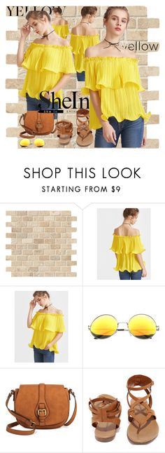 """""""Yellow Frilled Pleated"""" by sanela1209 ❤ liked on Polyvore featuring SW Global and Breckelle's"""