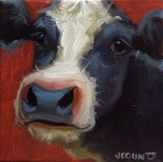"COW ART SMALL OIL PAINTING HOME FARM KITCHEN DECOR CUTE ANIMALS ""Sweet Pea"" Oil on Canvas 6""x6"""