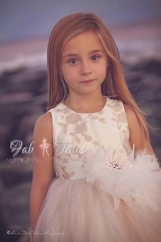 Champagne / ivory flower girl dress with venice lace by FabTutus