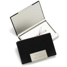 Personalized Engraved Stainless Steel and Black Leather Business Card Case will class him up with this sophisticated stainless steel and black leather business card holder, with stylishly engraved front plate.