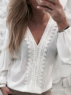 Shop Lace Trim Lantern Sleeve Chiffon Blouse right now, get great deals at Divasruby. Pattern Fashion, Blouses For Women, Ladies Blouses, Women's Blouses, Sleeve Styles, Trendy Outfits, Lace Trim, Ruffles, Womens Fashion