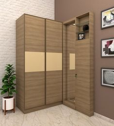 Barbaros Two door sliding Wardrobe with dresser designed in BWR Ply