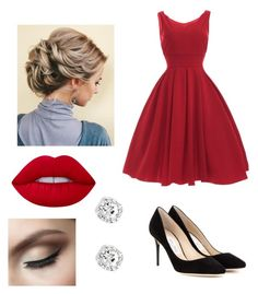 """Elegant Christmas party outfit"" by amaorama on Polyvore featuring Jimmy Choo and Lime Crime"