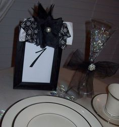 Damask Black Table Number by TimelessPerfection on Etsy, $34.99