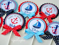 Nautical Cupcake Toppers, Nautical Birthday Party, Cupcake toppers with bows - Set of 12 Nautical Cupcake, Nautical Party, Nautical Wedding, Baby Birthday, 1st Birthday Parties, Baby Shower Themes, Baby Boy Shower, Shower Ideas, Baby Showers Marinero