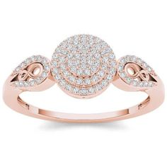 Imperial 1/5 Carat T.W. Diamond Double Halo Cluster 10kt Rose Gold Engagement Ring #diamondrings