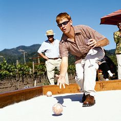 Backyard bocce court    Kick back with a friendly game of bocce in the backyard. Sandy Brewer and her husband, David, a landscape contractor, design bocce courts like this one at Landmark Vineyards in Kenwood, California.