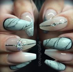 Marbled design coffin nails