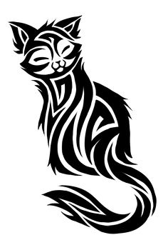 Cat Tattoo Design, i 'd love this style of drawing but if it was a dolphin or a hawk
